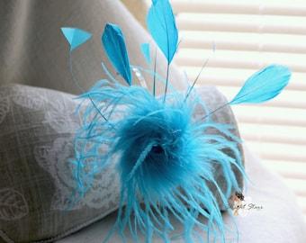 Blue headband - feather headband - feather headpiece - Blue feather headband - feather fascinator - Blue fascinator - girl headband