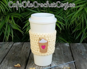 Crochet coffee cup cozy, with a Frappucinno feltie, made with 100% cotton. Crochet coffee sleeve, crochet coffee cozie