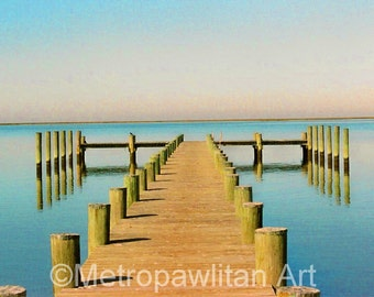 Crisfield, MD Dock greeting card or invitation - 5x7 with recycled brown envelope.  FREE S/H