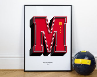 M is for Manchester Utd, Football Typography Print