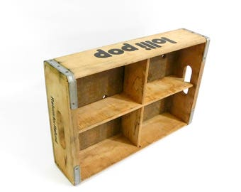 Vintage Wooden Lollipop Divided Soda Crate, Shadow Box Soda Case