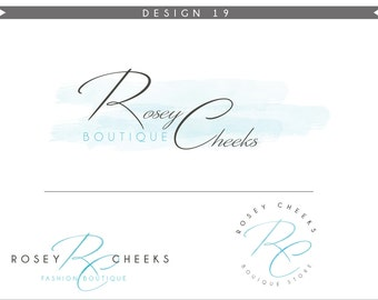 Watercolor Logo Design Branding Package Inc. Photography Logo Watermark - soft blue initials letters script cute Watercolor Logo- Logo 18