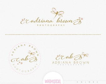 Elegant dragonfly-Premade Photography Logo and Watermark, Classic Elegant Script Font GOLD GLITTER butterfly children Calligraphy