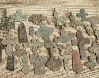 archaeological finds / Lot of 26 antique crosses and parts of crosses / excavation antique cross / digging found objects / antique jewelry
