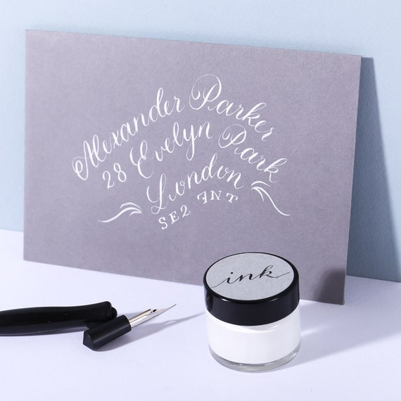 White Calligraphy Ink From Alaisestationery On Etsy Studio