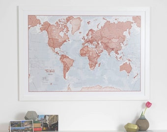 Red world map etsy red map of the world art print gift large world map home gumiabroncs Gallery