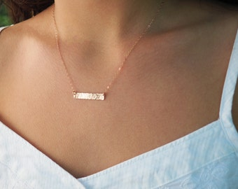 Set of.... Rose Gold Bar Necklaces, Rose Gold Initial Necklace, Bridesmaids Gift, Gift Set