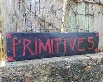"""DISCOUNTED PRICING Vintage used country Home PRIMITIVES Stars decor sign Black Red colored paint 2-1/4x9-1/2"""" ready to hang Unique Wood Item"""