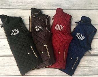 Monogram Vest, Brown Vest, Monogram Vest, Quilted Vest, Monogram Clothing, Black Vest, Black Puffy Vest, Black Quilted Vest, Monogram