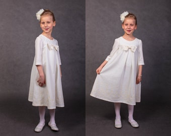 Flower girls dress First communion dress Communion dress Wedding dress Vintage wedding dress Bridesmaids dress Wedding dress Linen dress