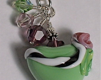 Beautiful Green Heart and Amythist Rose Lampwork Pendant Necklace