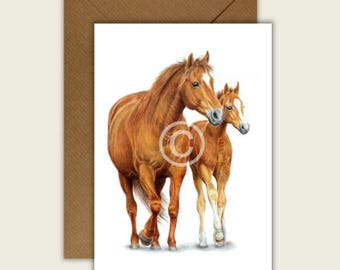 By Your Side Horse Blank Animal Artist Card