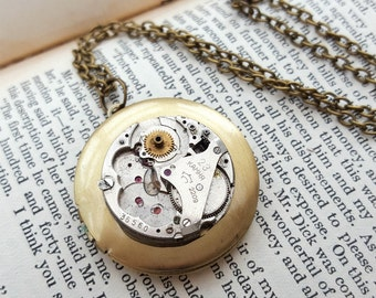Steampunk necklace watch movement, brass locket, vintage mechanism, bronze chain