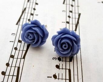 Blue rose earrings - vintage style flower on silver studs