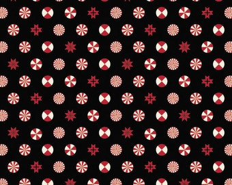 Peppermint Stars in Ink from Holiday Homies by Tula Pink by the fat quarter or half yard