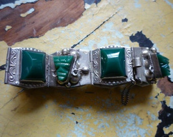 Vintage Early Mexico Sterling Silver Green Onyx Tribal Carved Mask Bracelet