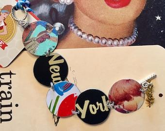 New York bracelet; tin bracelet; tea tin bracelet; New York jewelry