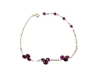 Triple Petal Rhodolite Garnet Bracelet