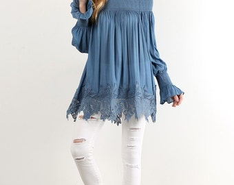 Off Shoulder Tunic, Relaxed Fit Tunic, Lace Bottom Tunic, Pixie Tunic, Pixie Off Shoulder, Pixie Clothing Tunic, Resort Tunic, Spring Tunic