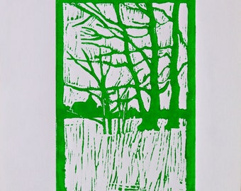 Winter trees Original linocut print on english artist paper green ink landscape linocut art linocut painting trees linocut engraving decor