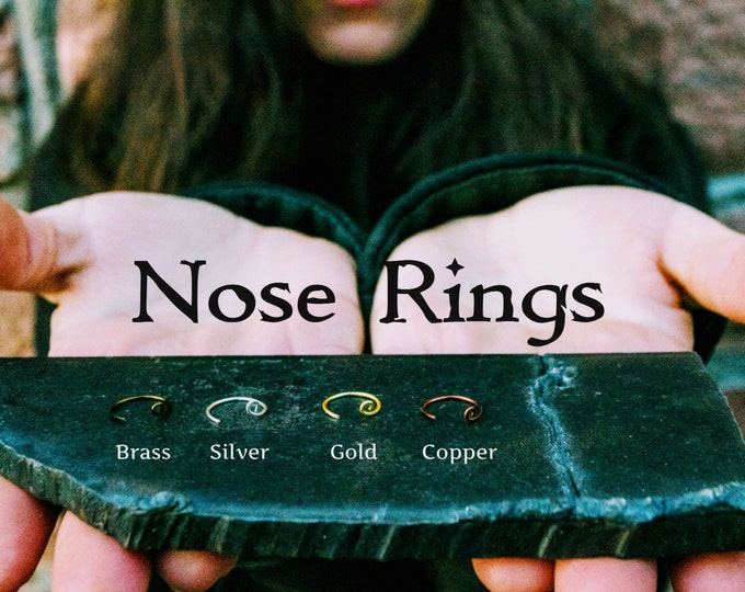 Thin Nose Hoop, Mini Hoop, Small Silver Nose Rings, 24 Gauge Nose Ring, Gold Nose Ring, Brass Nose Ring, Copper Nose Ring, Thread Through