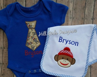 Baby boy appliquéd tie with sock monkey onesie and burp cloth set with name
