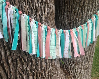 Mermaid Garland, Fabric Garland, Mermaid Banner, Fabric Banner, Turquoise, Aqua, Coral, Peach, Gold, MERMAID TALE,High Chair, Hi Chair