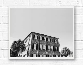 Black and white photography, architecture photography, black and white print, Charleston print South Carolina wall art, fine art photography