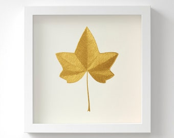 Ivy Leaf – Original Acrylic Painting – Gold Leaf – Hand Painted in 6 Metallic Shades – Wall Art – Leaf Gift For Her – In 3 Sizes – Unframed