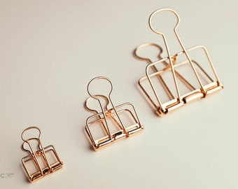 Rose Gold Metal Binder Clip / Wire Bulldog Paper Planner Stationery (3 Sizes, Small, Medium and Large) Copper