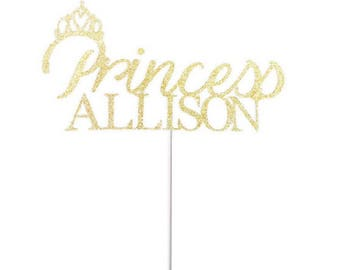 Personalized Princess Cake Topper- Any Color Glitter