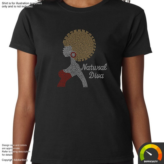 Natural diva afro woman rhinestone iron on transfer bling for Create your own iron on transfer for t shirt