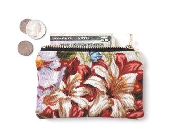 Floral Wallet Slim Coin Purse Zipper Pouch Linen