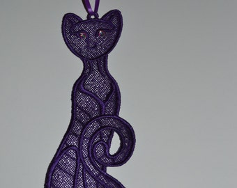 Lace kitty bookmark or ornament......great gift for kitty lovers