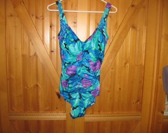 Vtg Maxine of Hollywood 12 Tall aqua floral rouched tummy pinup style Glam one piece swimsuit  free ship