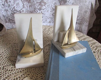 Brass Sailboat Mounted on Marble Nautical Bookends.