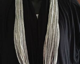 T-shirt Infinity Upcycled Fabric Gray Necklace Statement Simple multi-stranded Handmade