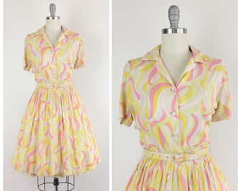50s Pink & Yellow Rayon Day Dress / 1950s Vintage Fit and Flare Shirtwaist Dress / Medium / Size 8