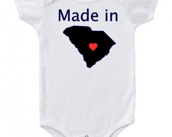 Made in SC baby onesie...creeper...bodysuit...All 50 state available