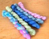 "Hand-Dyed Sock Yarn ""Candy Floss"" Mini Skeins Merino Wool Nylon Variegated 4 Ply Fingering Weight Yarn"