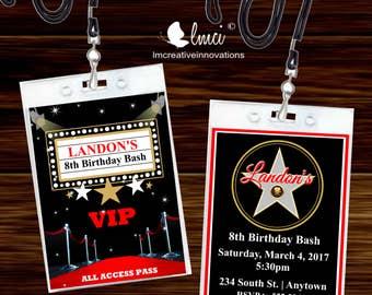 Movie Night Birthday Invitation, VIP Invitation Pass, Red Carpet VIP Badge