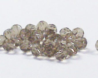Faceted Round Glass Beads in Dark Champagne 6 MM (25)