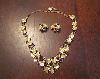 Kunio Matsumoto Grape Necklace and Earrings with Purple Cabochons