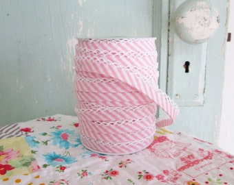 Pink Stripe Bias Tape (No. 102).  Stripe Quilt Binding. Double Fold Bias Tape.  Binding Bias.  Striped Binding.