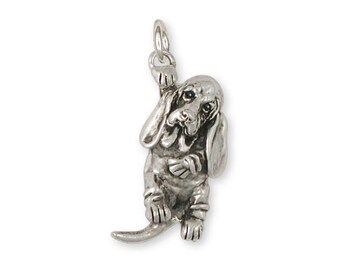 Basset Hound Charm Jewelry Sterling Silver Handmade Dog Charm BAS8-C