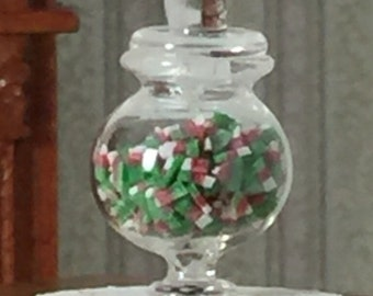 NEW Glass Candy Jar Filled With Red and Green Candy for Your 1/12th Scale Dollhouse or Miniature Scene