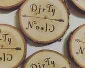 Wood Slice CLEAN/DIRTY Magnet // rustic refrigerator decor //dishwasher magnet