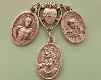 Crucifixion Prayer Talisman *medal cluster,Ecce Homo,Sorrowful Mother,Passion of Christ,Sacred Heart,Christ the Redeemer,Dismas Good Thief