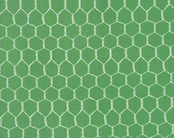 Farm Fun Chicken Wire Grass Green Fabric by Stacey Iset Hsu for Moda Fabrics