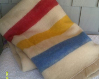 "Vintage Orrlaskan Wool Blanket with Red, Yellow and Blue Stripe, 63"" by 93"", Wool Camp Blanket"